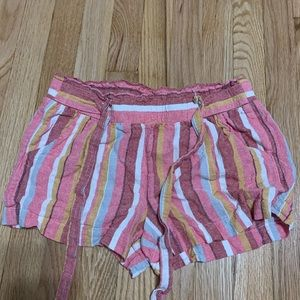 paper bag striped shorts
